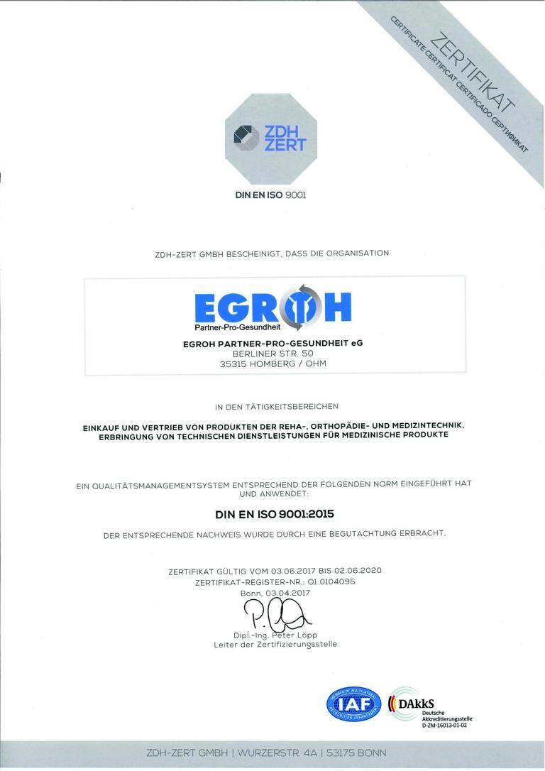 EGROH eG ZDH ZERT Zertifikat DIN EN ISO 9001:2015 gültig bis 02.06.2020