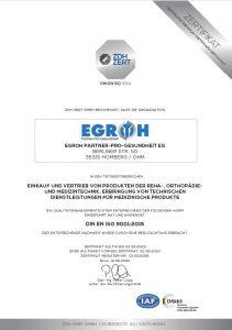 EGROH eG ZDH ZERT Zertifikat DIN EN ISO 9001:2015 gültig bis Juni 2023